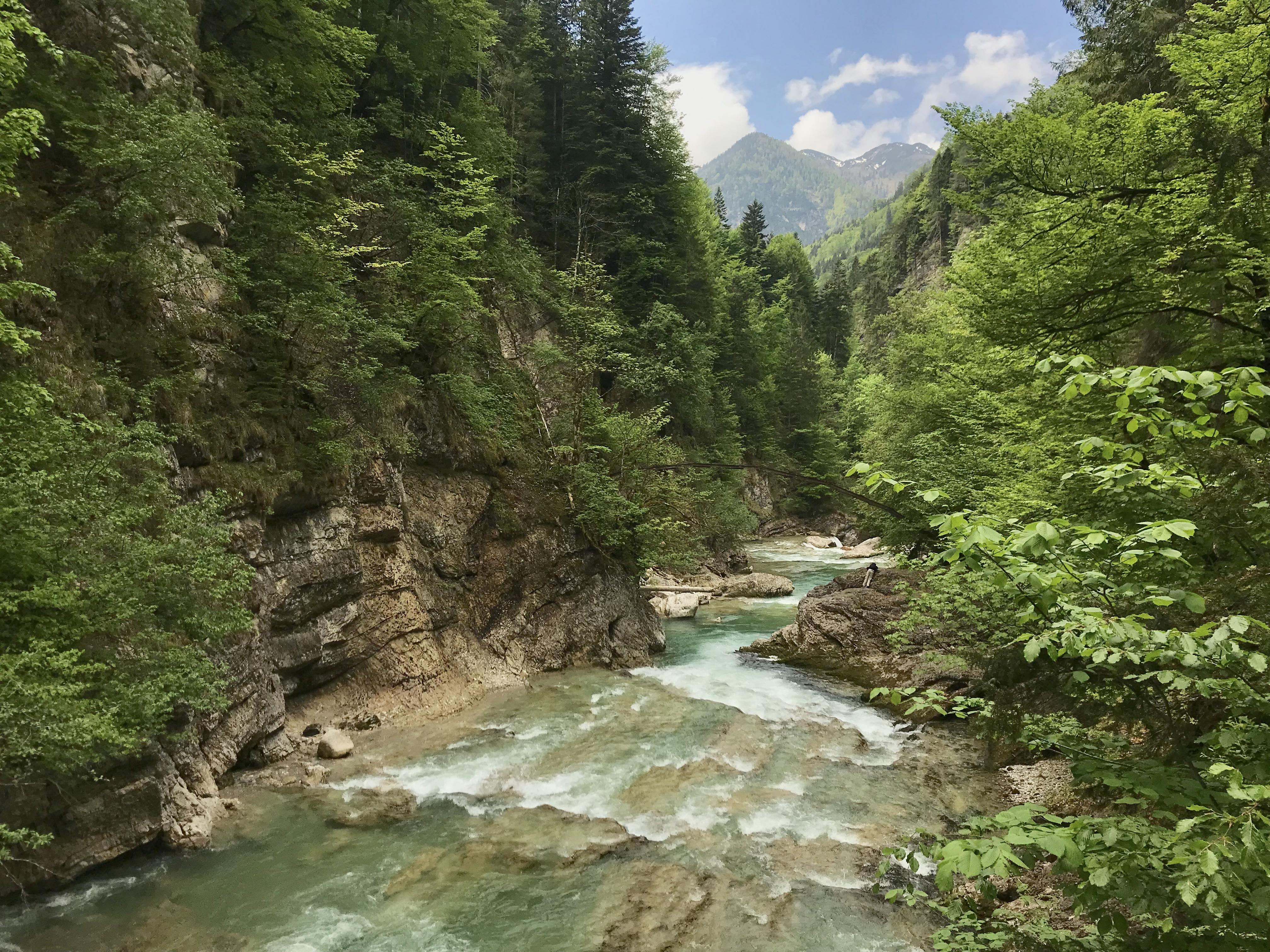Türkis schimmert das Wasser in der Tiefenbachklamm