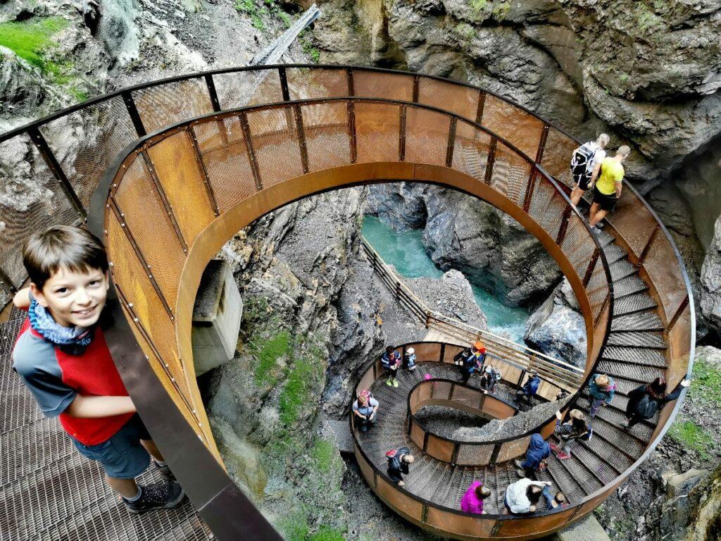 Meistbesuchte Klamm in Österreich: Die Liechtensteinklamm mit der Helix Treppe