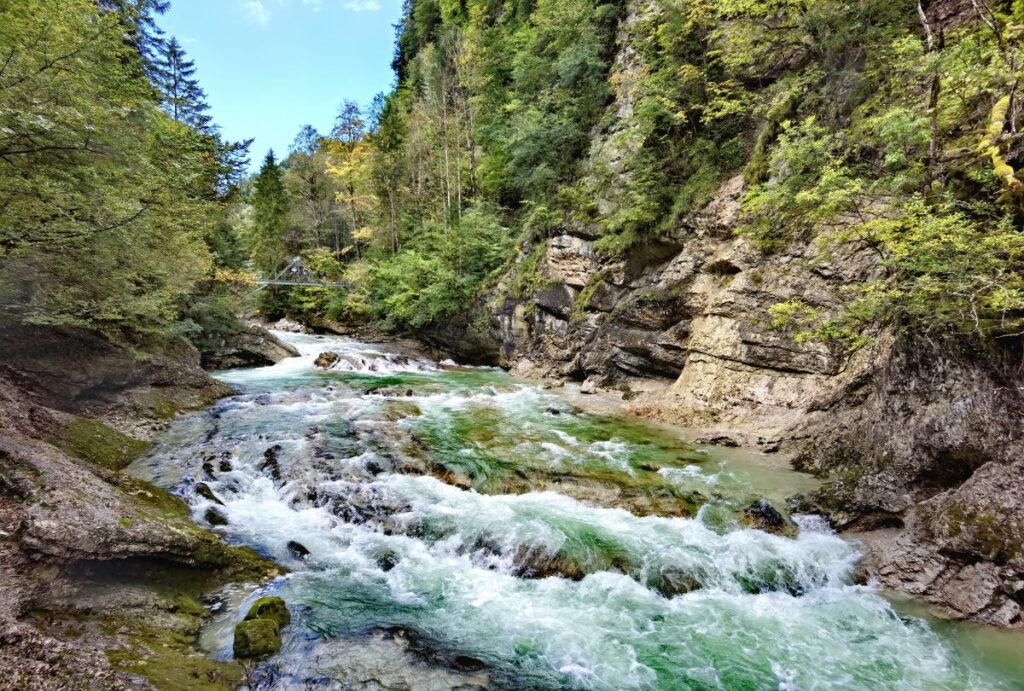 Durch die Tiefenbachklamm wandern und die Felsen am Wasser bestaunen